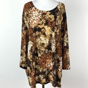 Maggie Barnes women's top size 3X brown floral